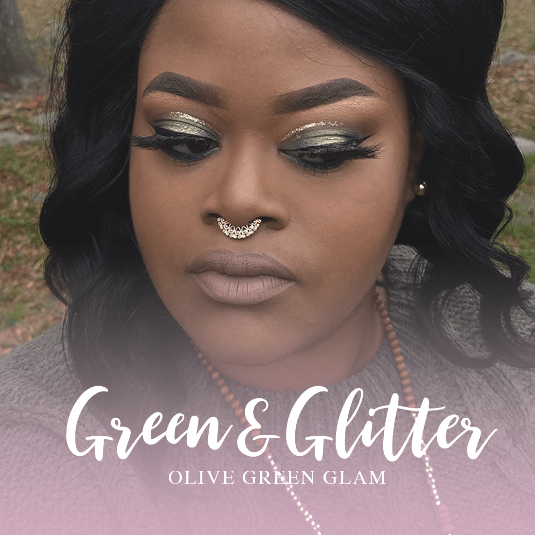 Olive Green & Gold Glitter Glam